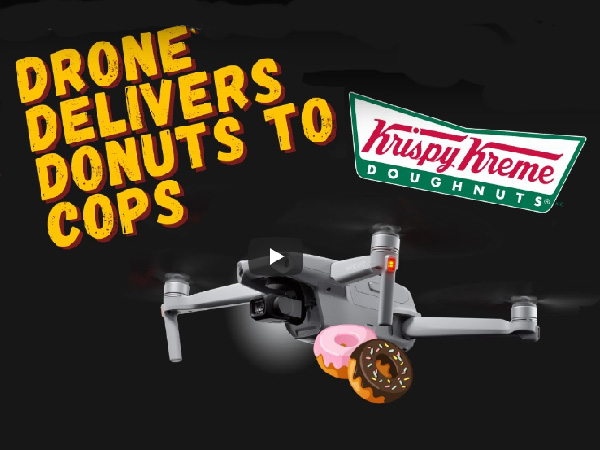 Video: Man uses drone to deliver doughnuts to cops