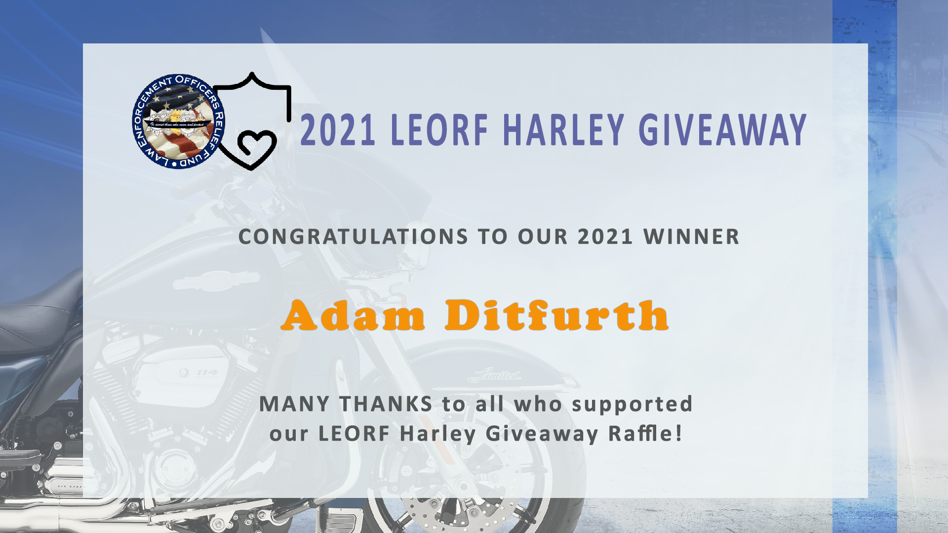 LEORF Harley Bike Raffle Winner!